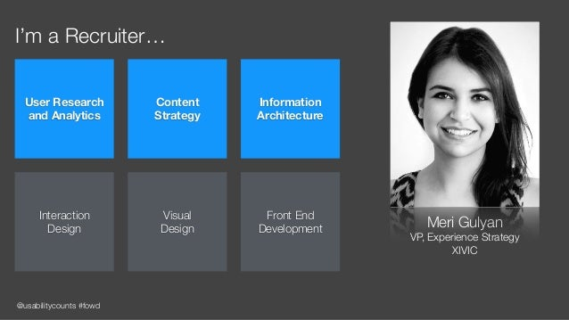 @usabilitycounts #fowd I'm a Recruiter… Meri Gulyan VP, Experience Strategy XIVIC User Research and Analytics Content  S...