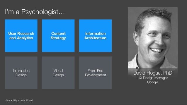 @usabilitycounts #fowd I'm a Psychologist… David Hogue, PhD UX Design Manager Google User Research and Analytics Content ...