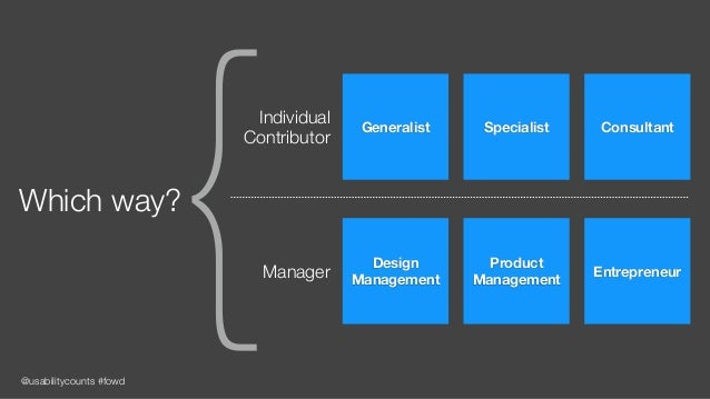 @usabilitycounts #fowd {Which way? Design Management Product Management EntrepreneurManager Generalist Specialist Consulta...