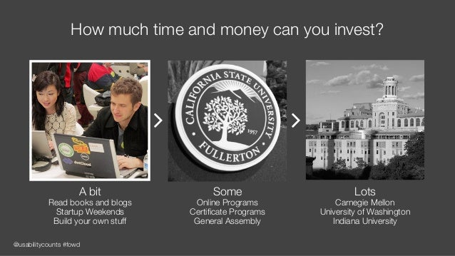 @usabilitycounts #fowd How much time and money can you invest? Some Online Programs Certificate Programs General Assembly L...