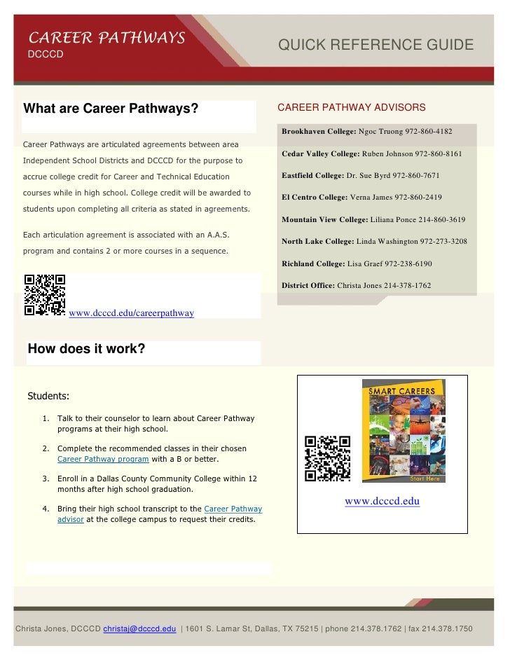 CAREER PATHWAYS                                                  QUICK REFERENCE GUIDE   DCCCD What are Career Pathways?  ...