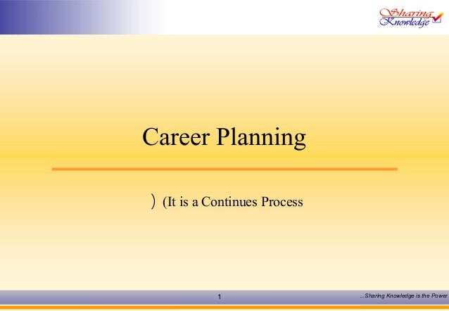 Career Planning  ( (It is a Continues Process  1 Sharing Knowledge … is the Power