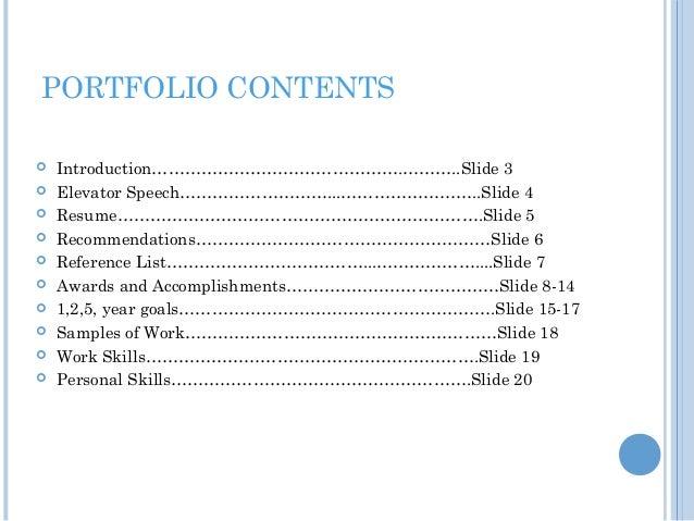 samples of career portfolios