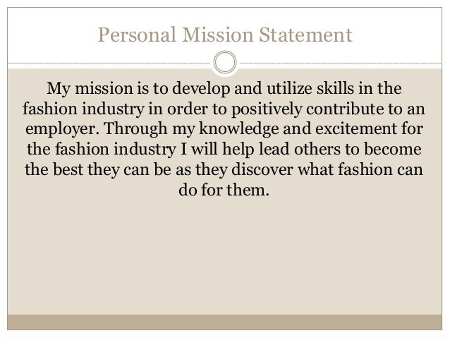 example personal mission statement career