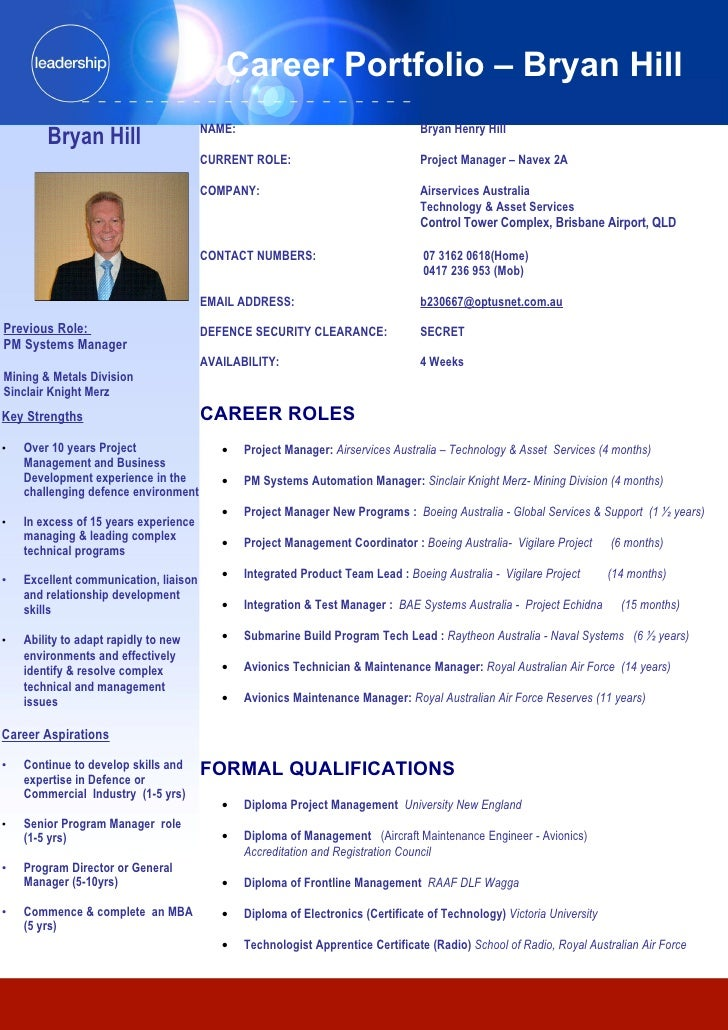 Career Portfolio – Bryan Hill                                        NAME:                                     Bryan Henry...