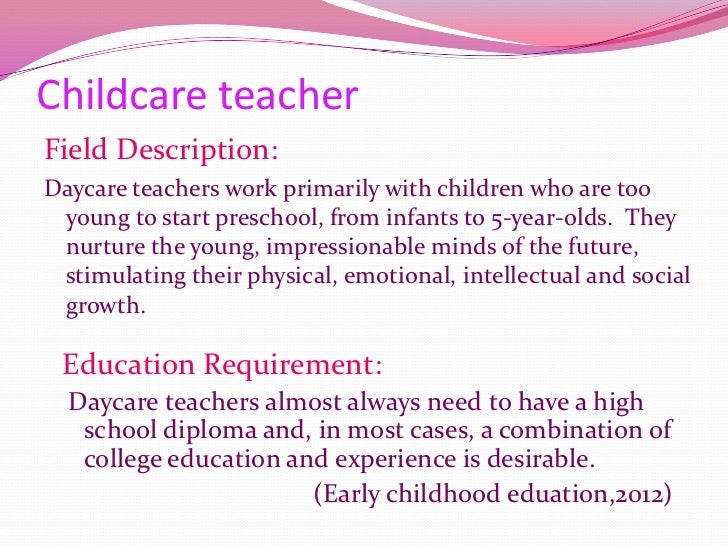 Career possibilities for early childhood education