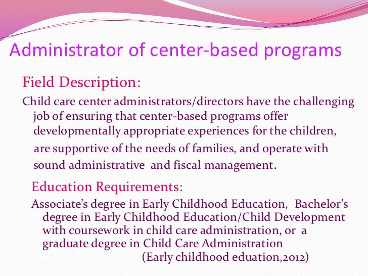 an assignment on early childhood care The many types of early childhood programs these programs may differ in their philosophies chapter 2 types of early childhood programs 51 child care homes.