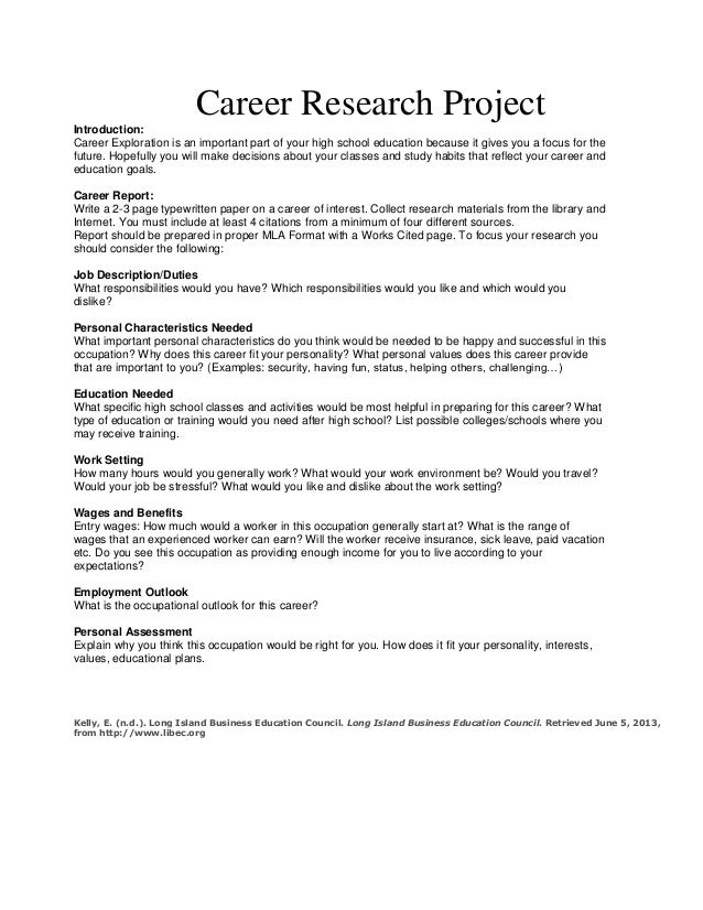 career research project career research projectintroduction career exploration is an important part of your high school education because