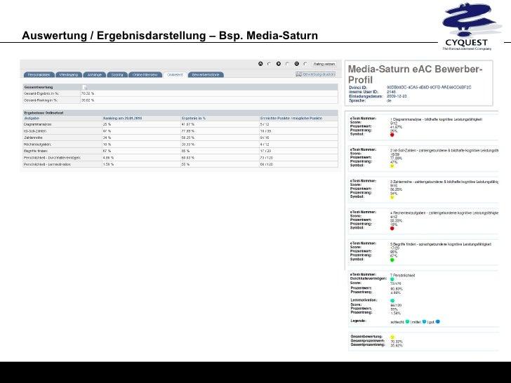 auswertung ergebnisdarstellung bsp media saturn - Saturn Bewerbung
