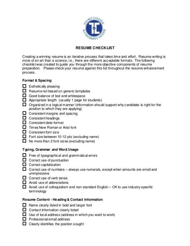career services resume checklist