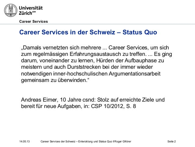 Career Services in der Schweiz Slide 2
