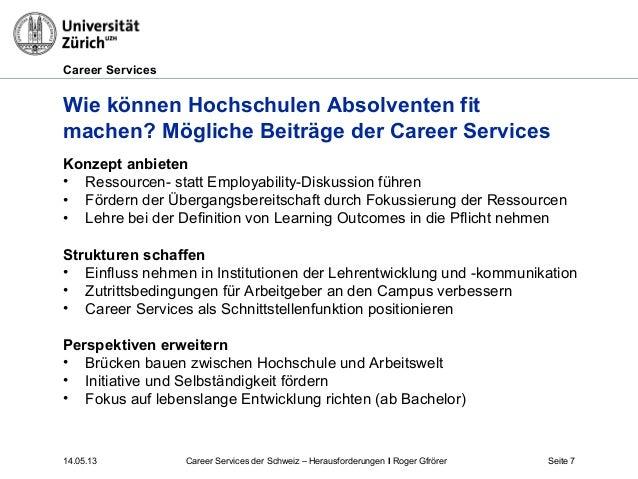 Career Services14.05.13 Seite 7Wie können Hochschulen Absolventen fitmachen? Mögliche Beiträge der Career ServicesKonzept ...