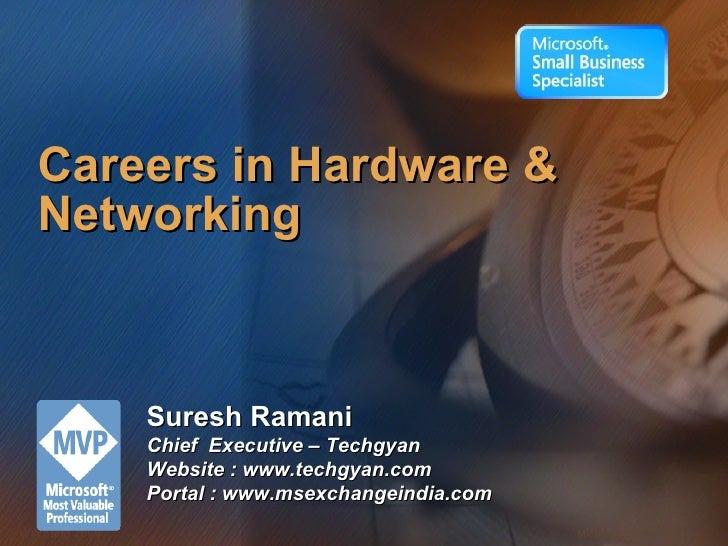 Careers in Hardware & Networking Suresh Ramani Chief  Executive – Techgyan Website : www.techgyan.com Portal : www.msexcha...