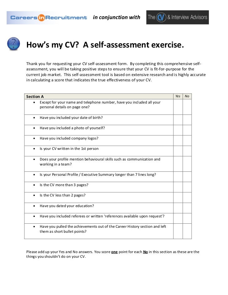 How'S My Cv? A Self-Assessment Exercise.