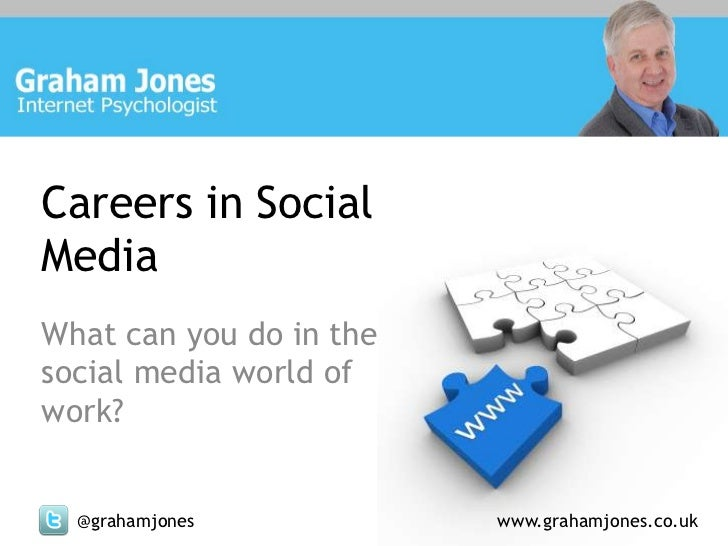 Careers in SocialMediaWhat can you do in thesocial media world ofwork?  @grahamjones           www.grahamjones.co.uk