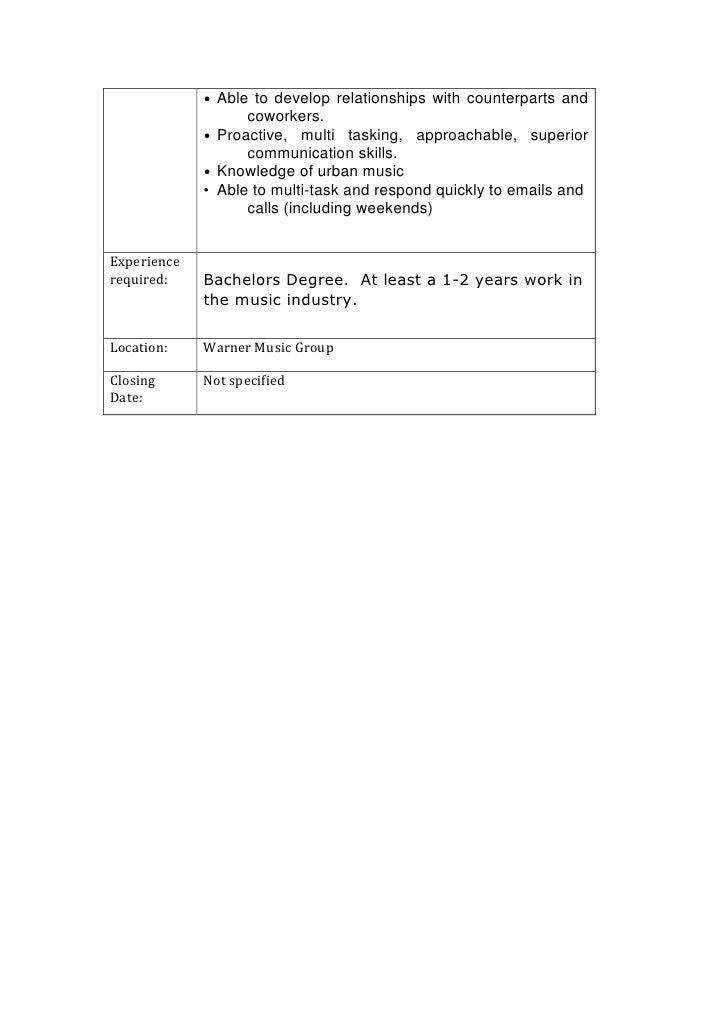 Careers job description – Music Industry Job Descriptions