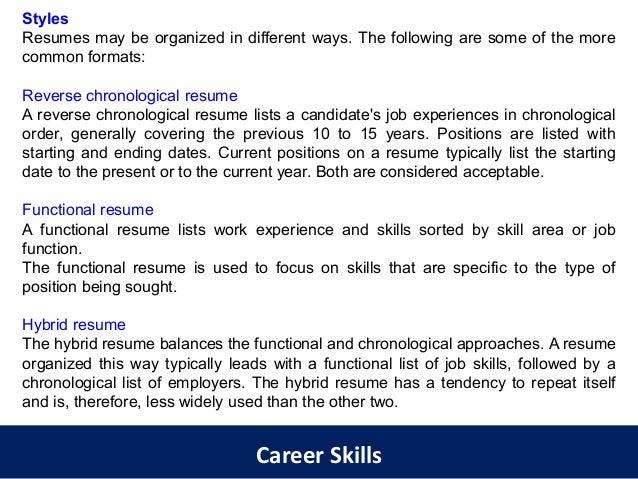 list of career skills