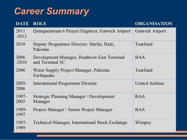 career summary
