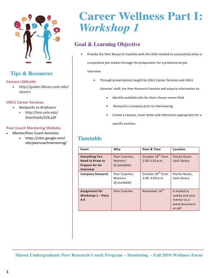 Career Wellness Part I:                                               Workshop 1                                          ...