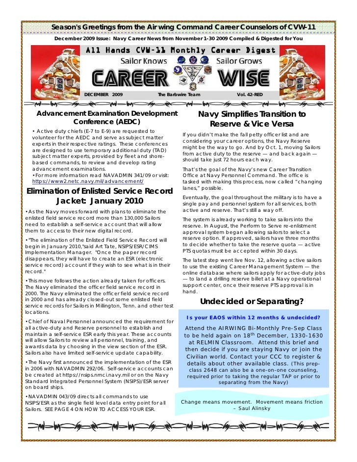 Season's Greetings from the Air wing Command Career Counselors of CVW-11             December 2009 Issue: Navy Career News...