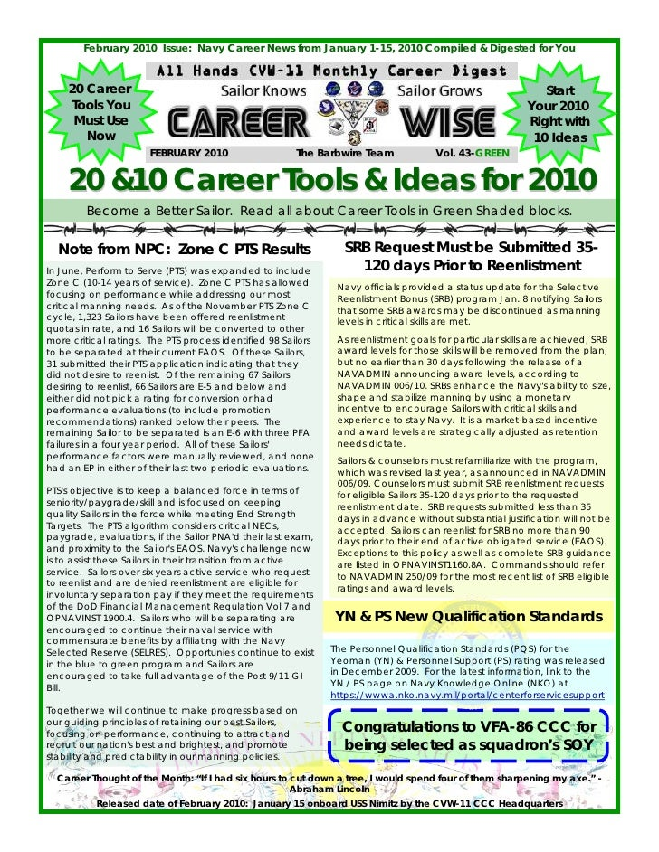 February 2010 Issue: Navy Career News from January 1-15, 2010 Compiled & Digested for You       20 Career                 ...