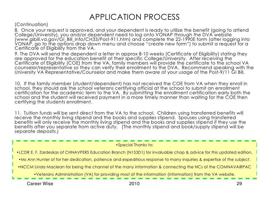 Career Wise Post 9 11 Gi Bill Updated Beta Edition 2010