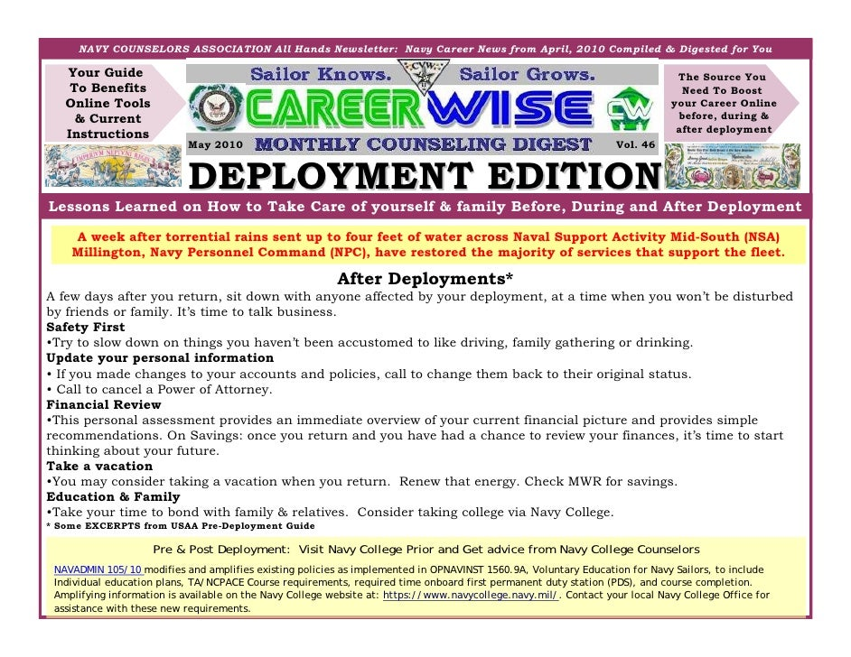 NAVY COUNSELORS ASSOCIATION All Hands Newsletter: Navy Career News from April, 2010 Compiled & Digested for You     Your G...