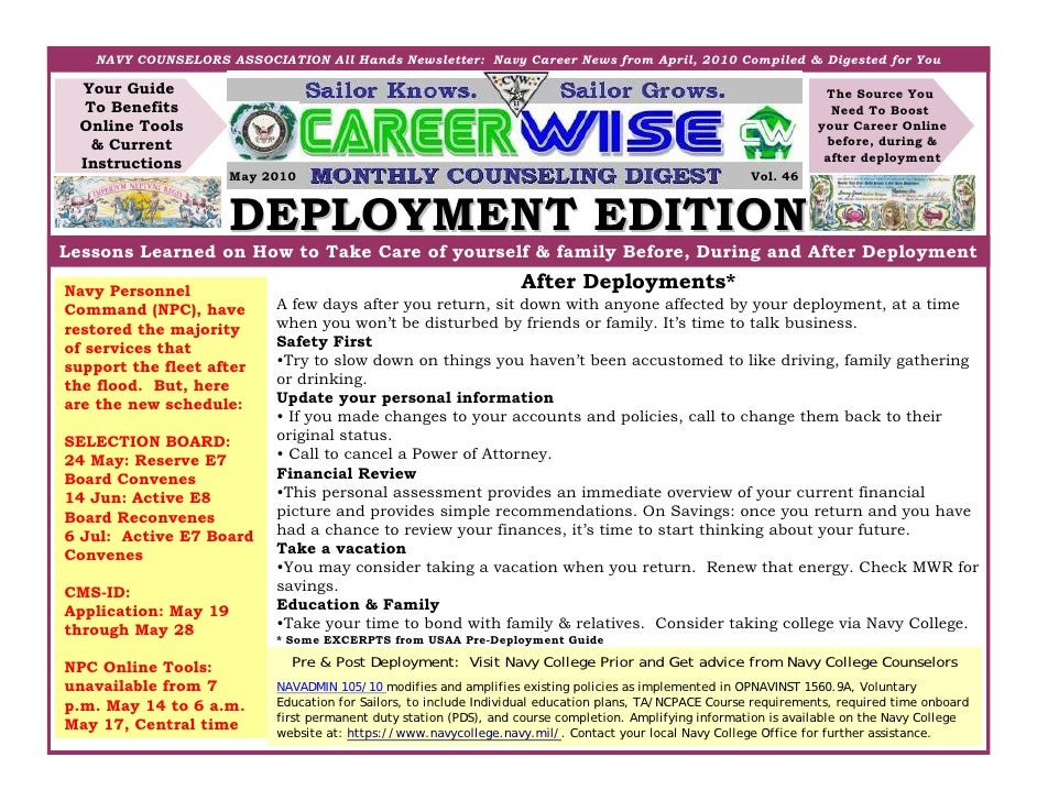 NAVY COUNSELORS ASSOCIATION All Hands Newsletter: Navy Career News from April, 2010 Compiled & Digested for You    Your Gu...