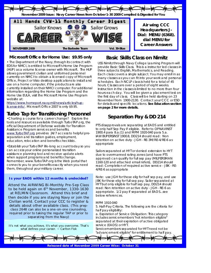 November 2009 Issue: Navy Career News from October 1-30 2009 Compiled & Digested for You                                  ...