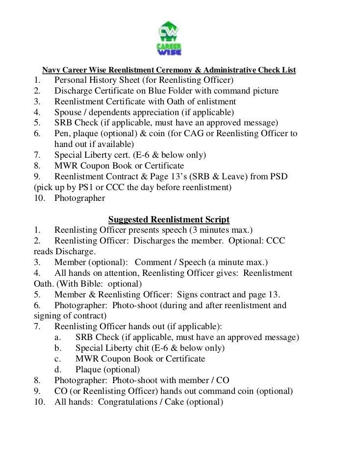 careerwise reenlistment ceremony checklist