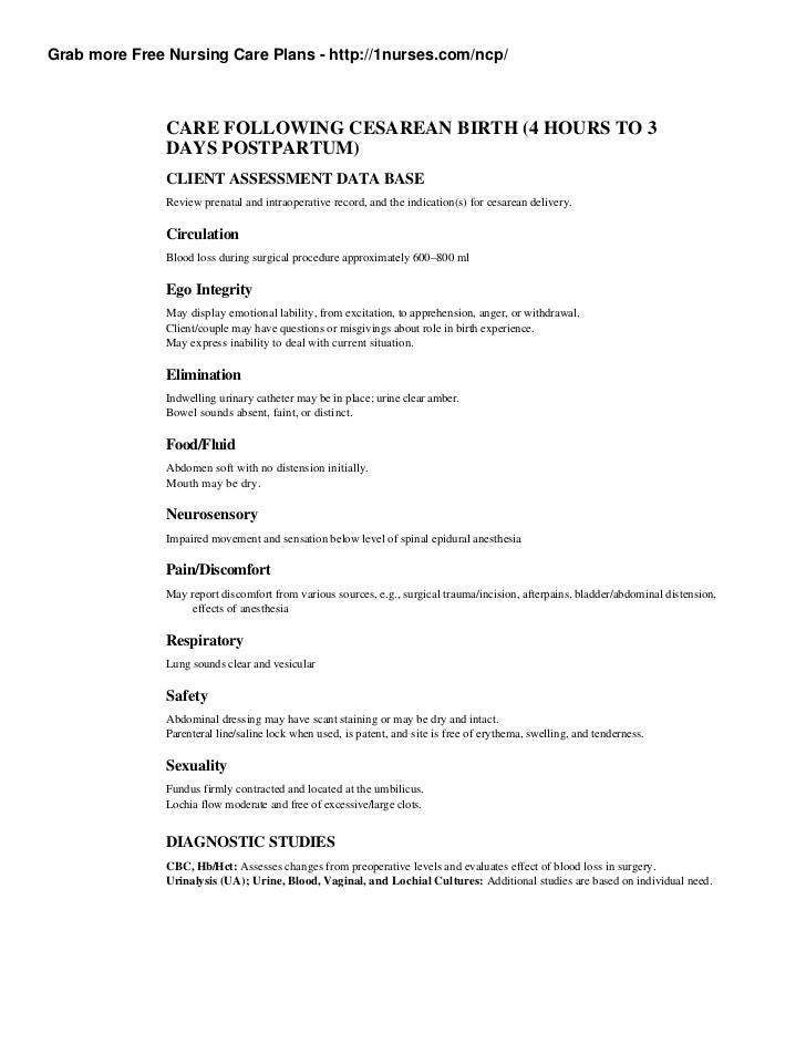 cesarean birth plan template - fig 1 nursing assessments for postpartum bleeding cbc