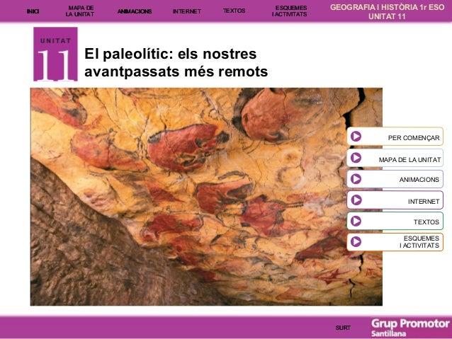 INICI  MAPA DE LA UNITA T  ANIMACIONS  INTE RNE T  TEXTOS  ESQUEMES I ACTIVITATS  GEOGRAFIA I HISTÒRIA 1r ESO UNITAT 11  E...