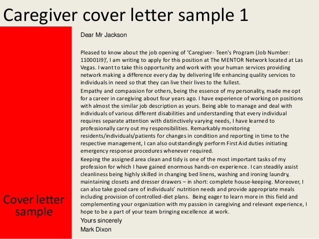Caregiver Cover Letter .