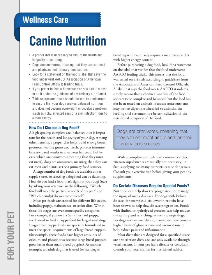Wellness Care                Canine Nutrition                •	 A proper diet is necessary to ensure the health and       ...
