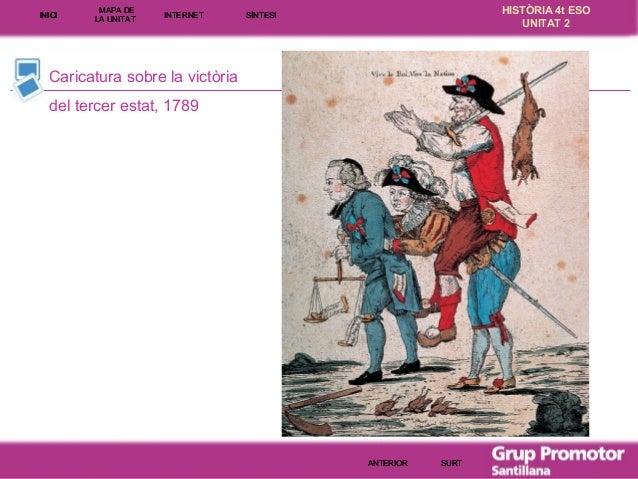 INICI  MAPA DE LA UNITA T  INTE RNE T  HISTÒRIA 4t ESO UNITAT 2  SÍNTESI  Caricatura sobre la victòria del tercer estat, 1...