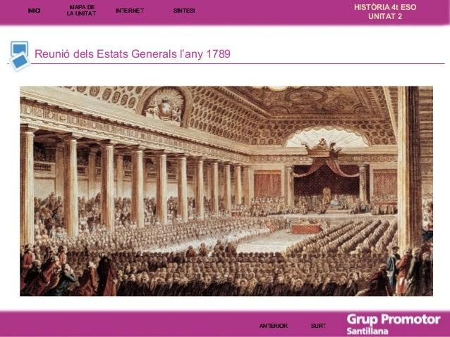 INICI  MAPA DE LA UNITA T  INTE RNE T  HISTÒRIA 4t ESO UNITAT 2  SÍNTESI  Reunió dels Estats Generals l'any 1789  ANTERIOR...