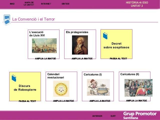 INICI  MAPA DE LA UNITA T  INTE RNE T  HISTÒRIA 4t ESO UNITAT 2  SÍNTESI  La Convenció i el Terror L'execució de Lluís XVI...