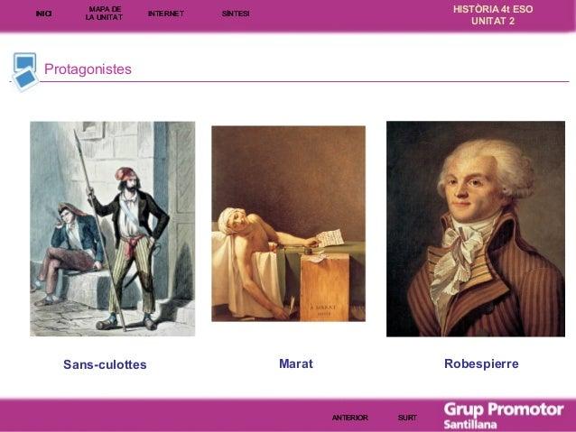 INICI  MAPA DE LA UNITA T  INTE RNE T  HISTÒRIA 4t ESO UNITAT 2  SÍNTESI  Protagonistes  Sans-culottes  Marat  Robespierre...
