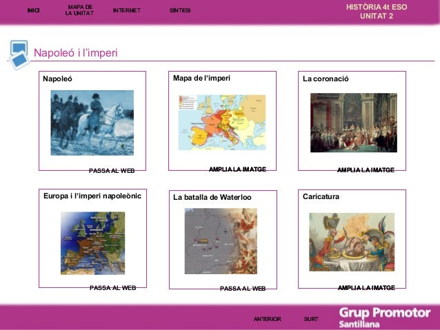 INICI  MAPA DE LA UNITA T  INTE RNE T  HISTÒRIA 4t ESO UNITAT 2  SÍNTESI  Napoleó i l'imperi Mapa de l'imperi  Napoleó  PA...