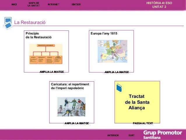 INICI  MAPA DE LA UNITA T  INTE RNE T  HISTÒRIA 4t ESO UNITAT 2  SÍNTESI  La Restauració Europa l'any 1815  Principis de l...