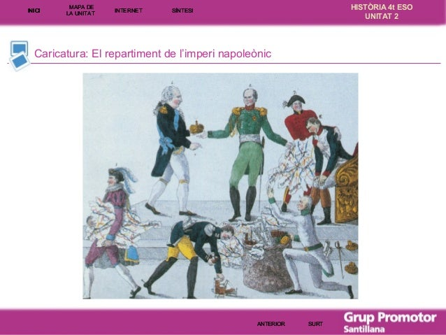 INICI  MAPA DE LA UNITA T  INTE RNE T  HISTÒRIA 4t ESO UNITAT 2  SÍNTESI  Caricatura: El repartiment de l'imperi napoleòni...