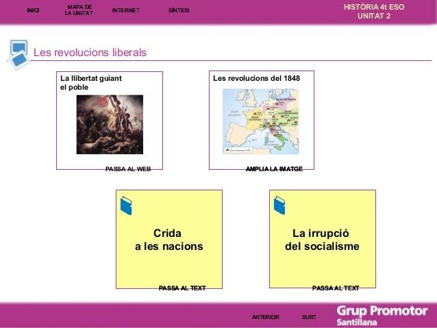 INICI  MAPA DE LA UNITA T  INTE RNE T  HISTÒRIA 4t ESO UNITAT 2  SÍNTESI  Les revolucions liberals Les revolucions del 184...
