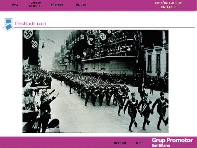 INICI  MAPA DE LA UNITA T  INTE RNE T  HISTÒRIA 4t ESO UNITAT 8  SÍNTESI  Desfilada nazi  ANTERIOR  SURT