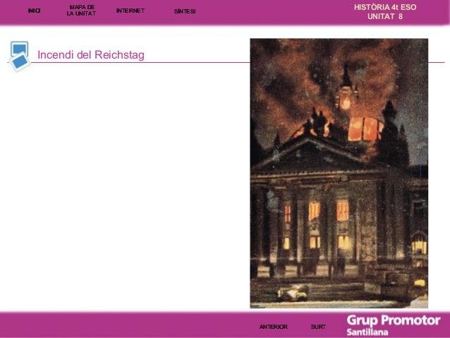 INICI  MAPA DE LA UNITA T  INTE RNE T  HISTÒRIA 4t ESO UNITAT 8  SÍNTESI  Incendi del Reichstag  ANTERIOR  SURT