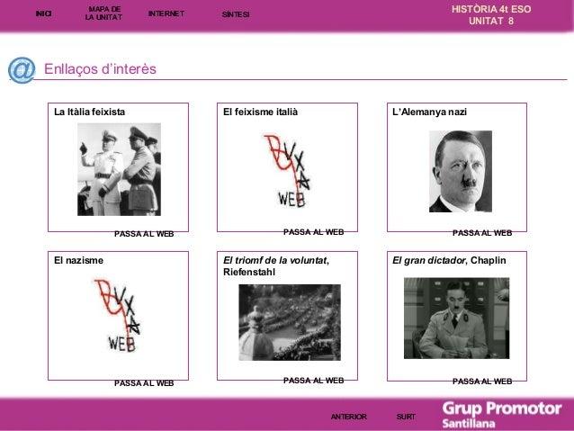 INICI  MAPA DE LA UNITA T  INTE RNE T  HISTÒRIA 4t ESO UNITAT 8  SÍNTESI  Enllaços d'interès La Itàlia feixista  PASSA AL ...