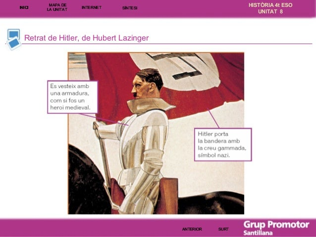 INICI  MAPA DE LA UNITA T  INTE RNE T  HISTÒRIA 4t ESO UNITAT 8  SÍNTESI  Retrat de Hitler, de Hubert Lazinger  ANTERIOR  ...
