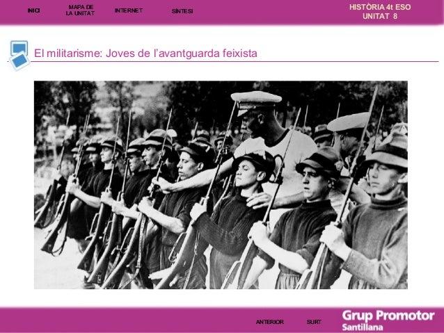 INICI  MAPA DE LA UNITA T  INTE RNE T  HISTÒRIA 4t ESO UNITAT 8  SÍNTESI  El militarisme: Joves de l'avantguarda feixista ...