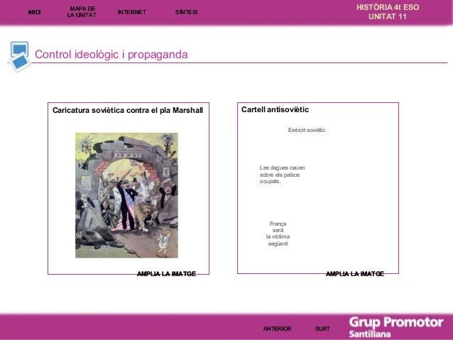 INICI  MAPA DE LA UNITA T  INTE RNE T  HISTÒRIA 4t ESO UNITAT 11  SÍNTESI  Control ideològic i propaganda  Caricatura sovi...
