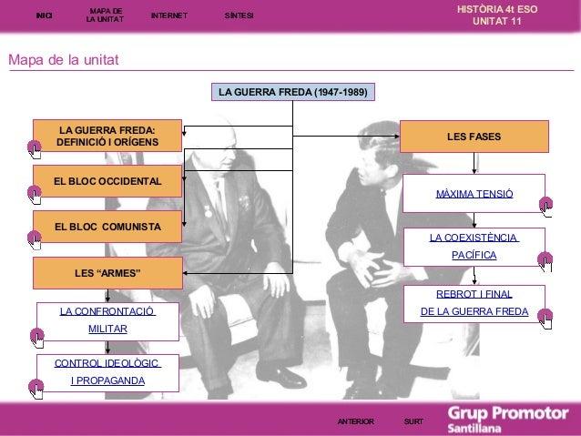INICI  MAPA DE LA UNITA T  INTE RNE T  HISTÒRIA 4t ESO UNITAT 11  SÍNTESI  Mapa de la unitat LA GUERRA FREDA (1947-1989)  ...