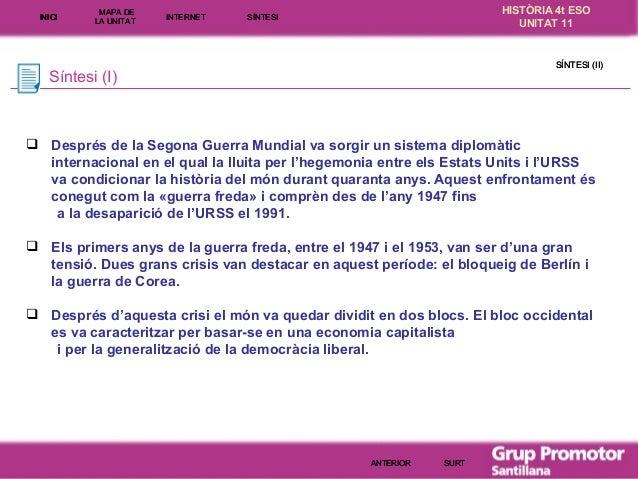 INICI  MAPA DE LA UNITA T  INTE RNE T  HISTÒRIA 4t ESO UNITAT 11  SÍNTESI  SÍNTESI (II)  Síntesi (I)   Després de la Sego...